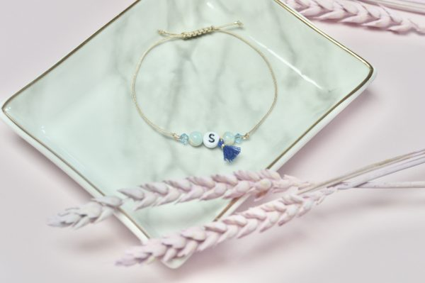 Armband Initialen Blau